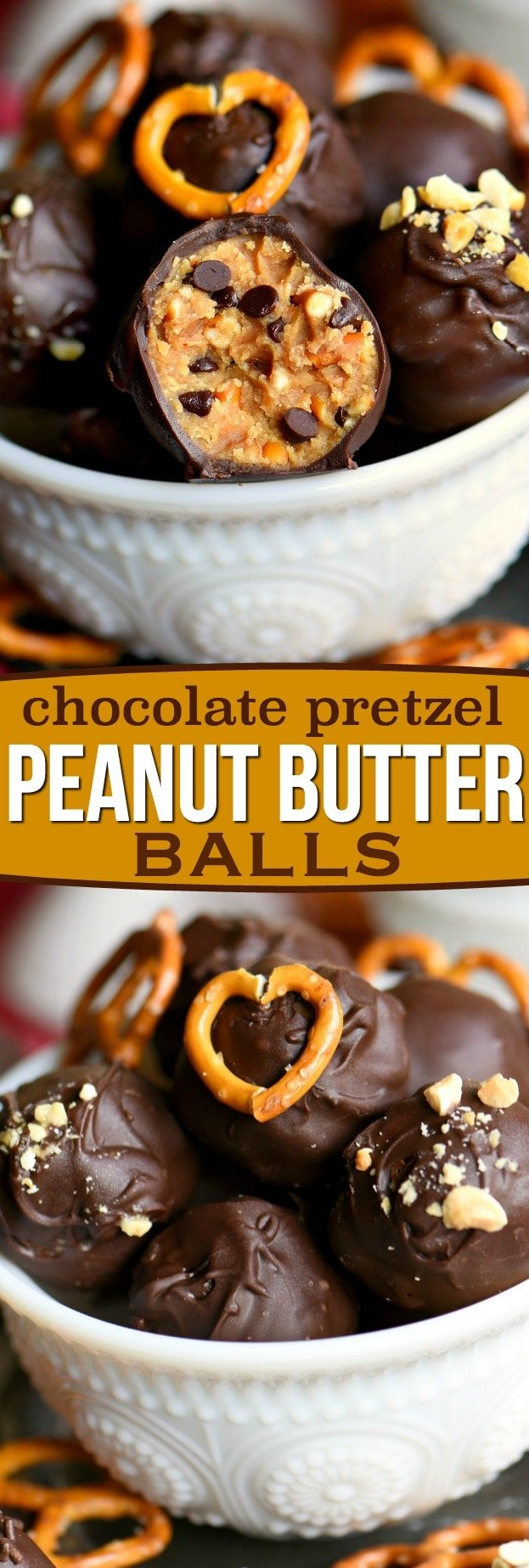 Peanut Butter Balls are taken to the next level with the addition of pretzels in this easy Chocolate Pretzel Peanut Butter Balls recipe. The creamy, crunchy, salty, sweet combination is the best of all worlds. Extra delicious and loaded with peanut butter, chocolate chips, and pretzels! // Mom On Timeout #peanutbutter #balls #peanut #butter #chocolate #pretzels #creamcheese #candy #candies #recipe #sweets #dessert #desserts #truffles