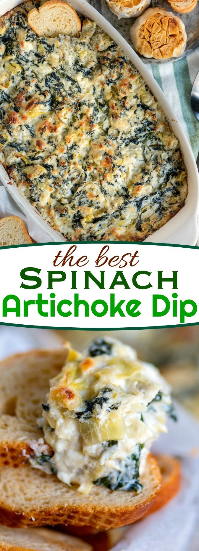 Spinach Artichoke Dip is impossible to resist and ready to go in just about 30 minutes. Fresh from the oven, it's creamy, cheesy goodness is best served with chips, toasted baguette slices or celery sticks. It's an easy and delicious dip that is perfect for gatherings, BBQs or game day. // Mom On Timeout #recipe #appetizer #artichoke #spinach #cheese #dip #gameday #easy #baked