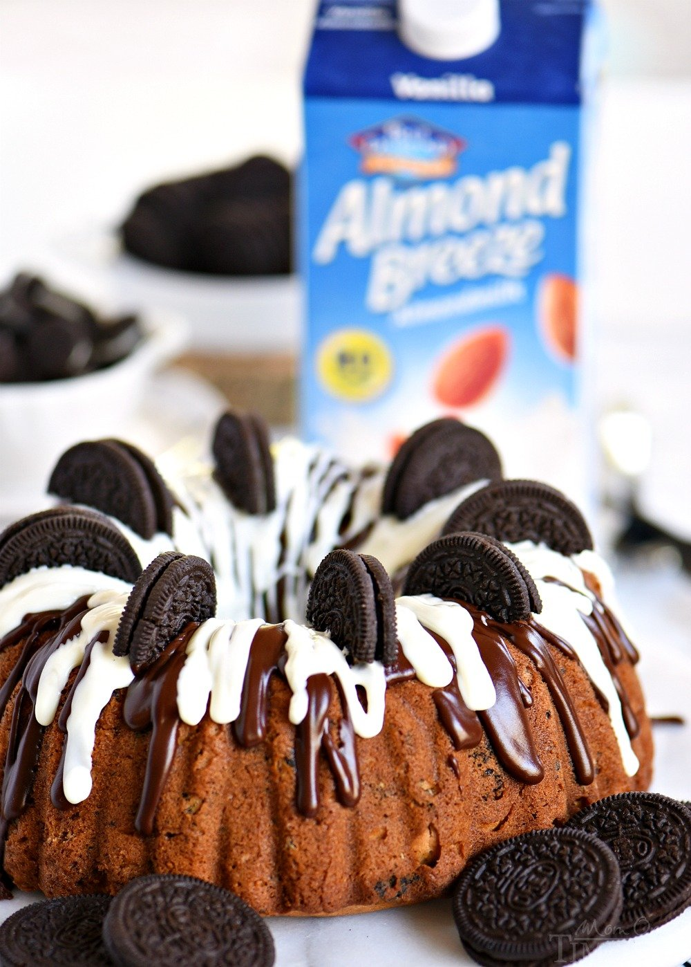 oreo cake in bundt made with cake mix and oreos