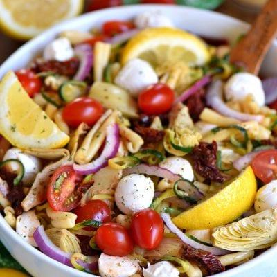 Zucchini Pasta Salad with Sun Dried Tomatoes and Mozzarella