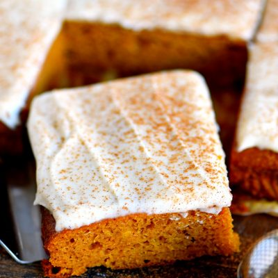 The BEST Pumpkin Bars with Brown Butter Cream Cheese Frosting