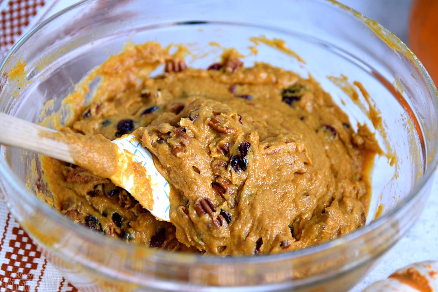 pumpkin bread batter in bowl ready to be added to the bread pan.