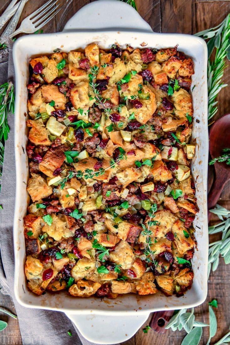 sausage-stuffing-cranberries-apples-baking-dish