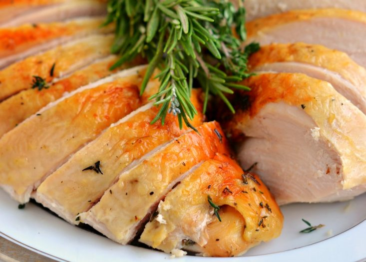 slow cooker turkey breast recipe sliced on platter