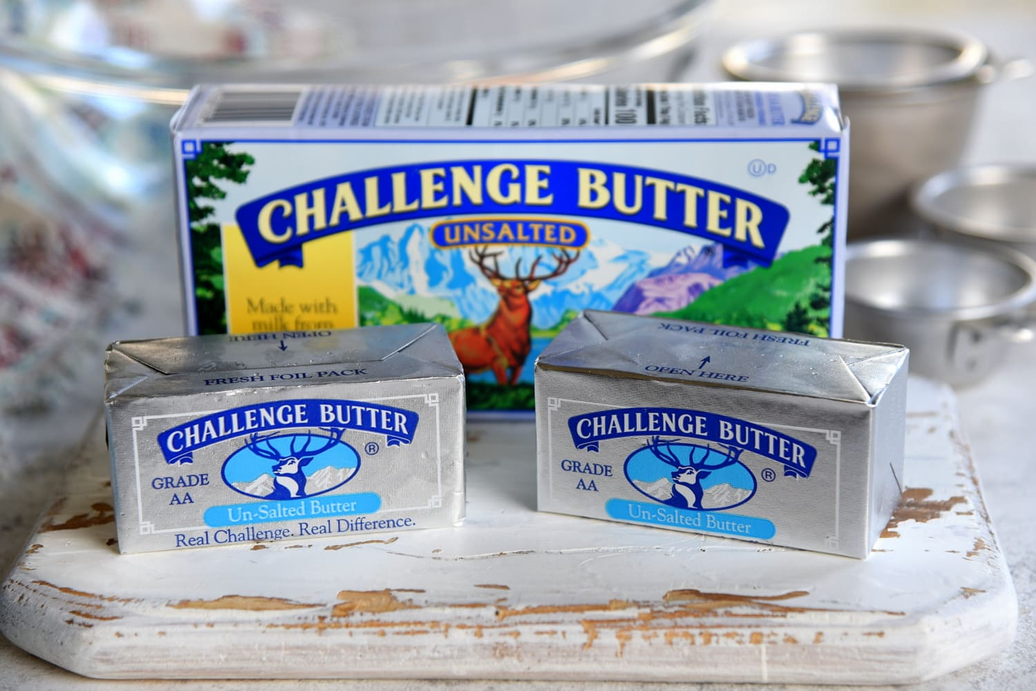 challenge butter sitting on white board