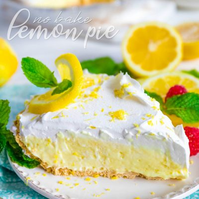 lemon-pie-recipe-no-bake-slice-plated-garnished