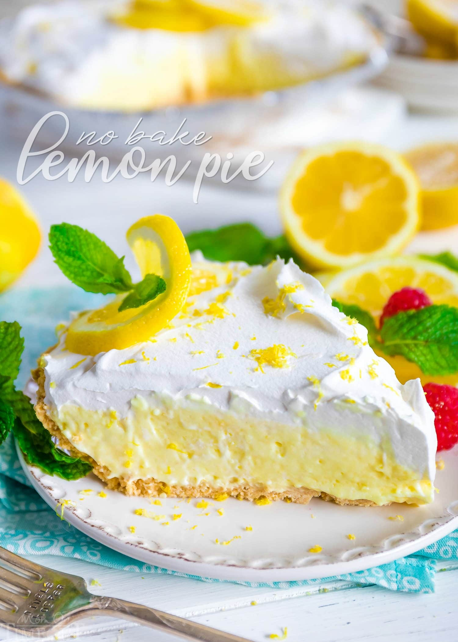lemon pie garnished with lemon slice and fresh mint with title overlay at top of image.