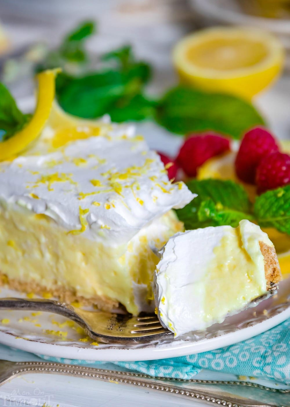 bite of lemon pie on a fork.
