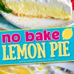 slice of pie and pie in tin with center color block and text overlay.