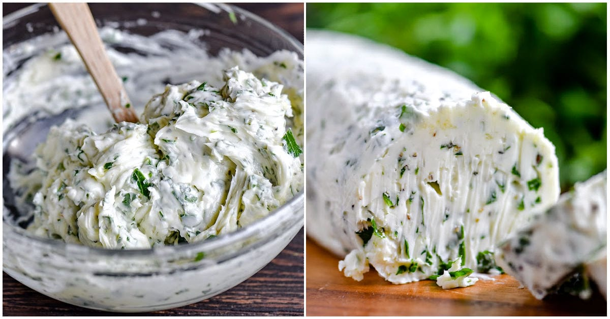 two image collage showing garlic herb butter being mixed in a bowl and also shaped as a log.