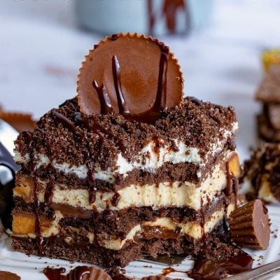 peanut butter chocolate icebox cake bite title