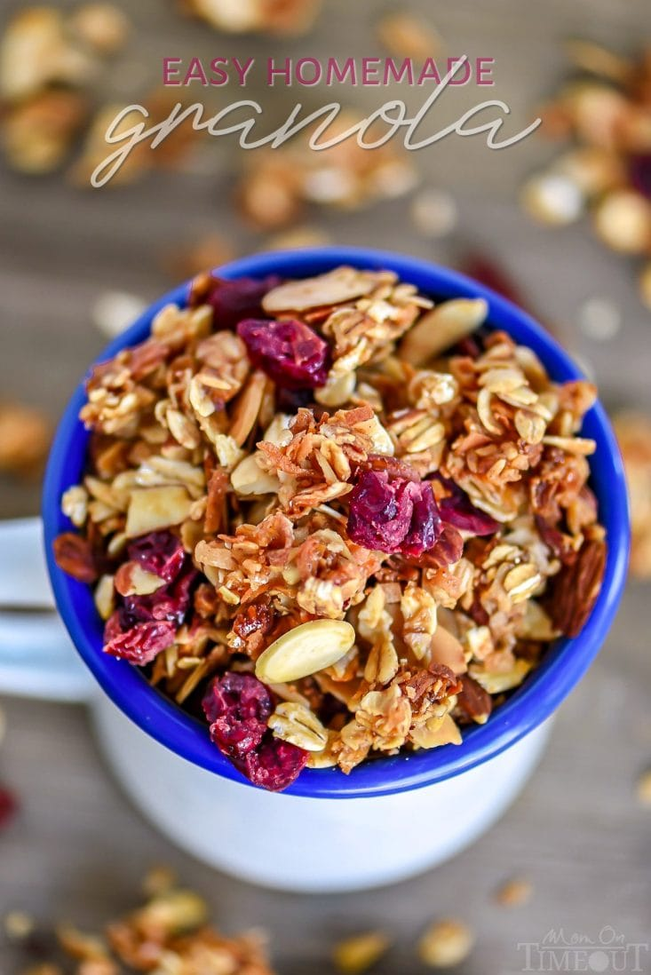 easy homemade granola recipe with cranberries coconut and almonds