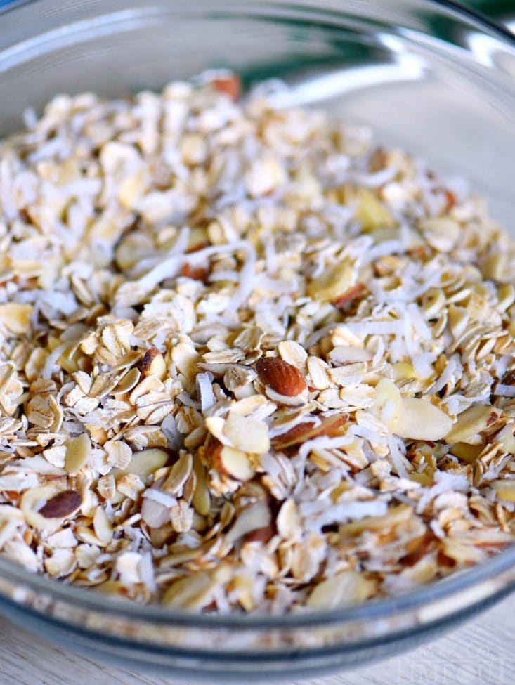 granola ingredients in bowl oats-almonds-coconut