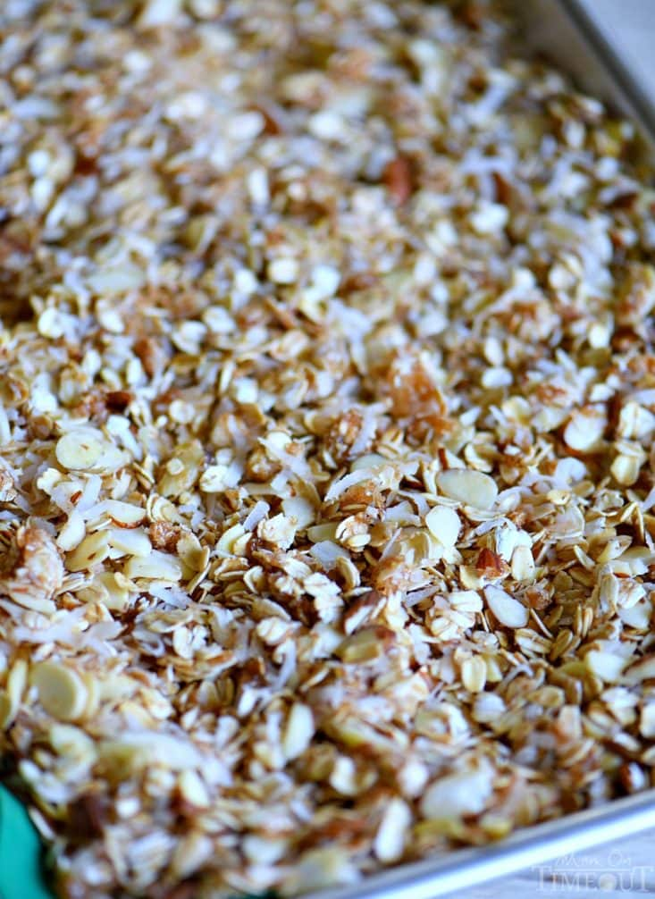 granola recipe on baking sheet ready to bake
