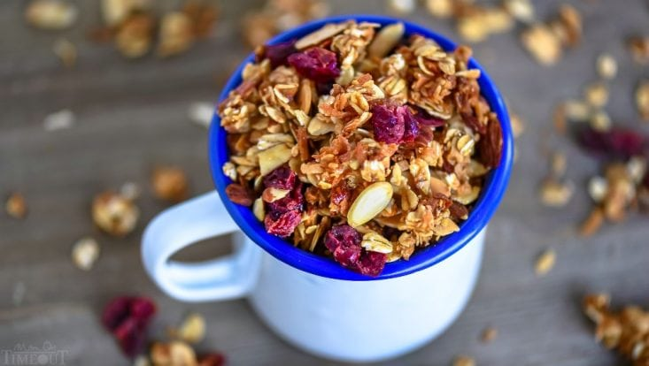 granola recipe with coconut and cranberries in cup