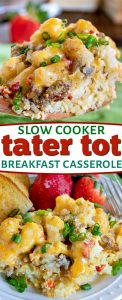 tater tot breakfast casserole collage