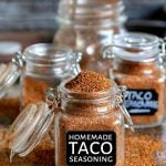 homemade taco seasoning recipe in spice jar with label