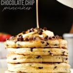 best chocolate chip pancake recipe with syrup being poured on top
