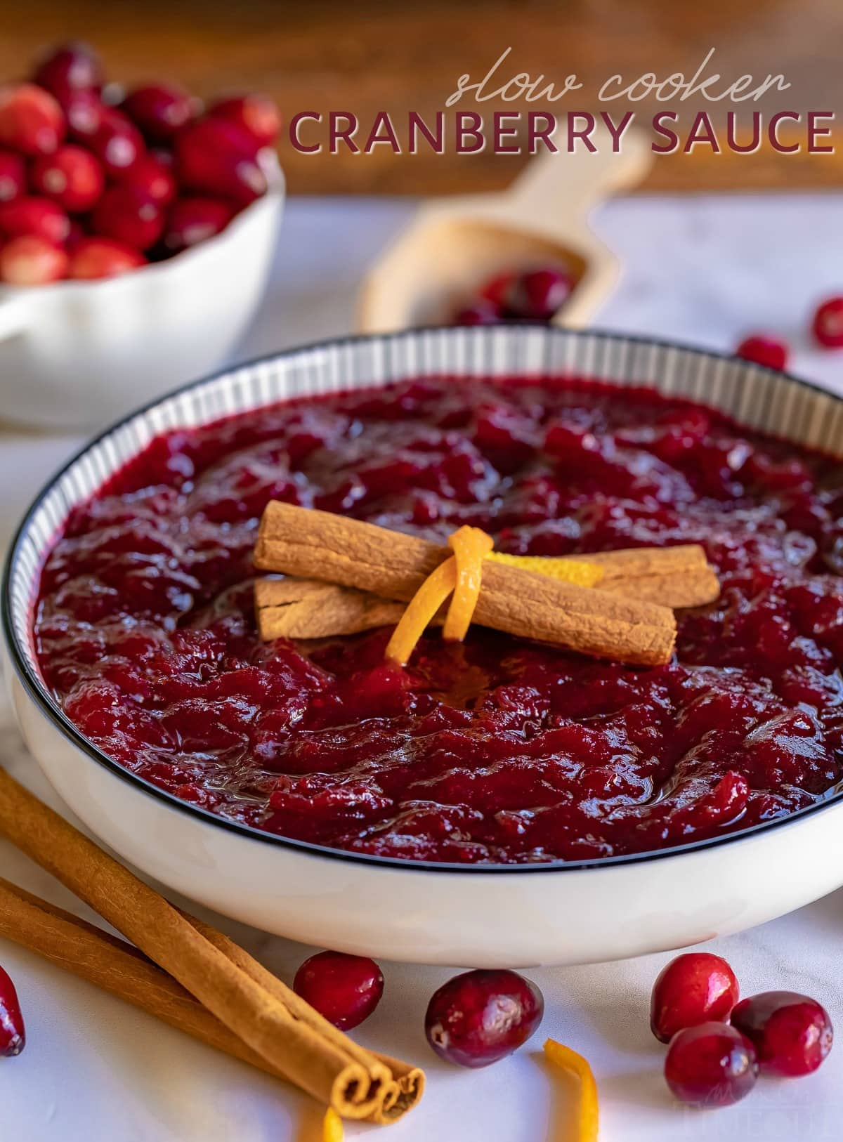 cranberry sauce in bowl with title for blog