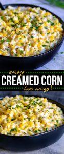 creamed corn recipe collage