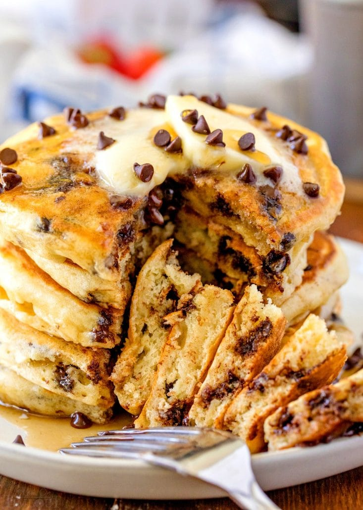 easy Chocolate Chip Pancakes on plate with bite taken