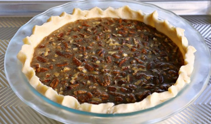 pecan pie on baking sheet 750