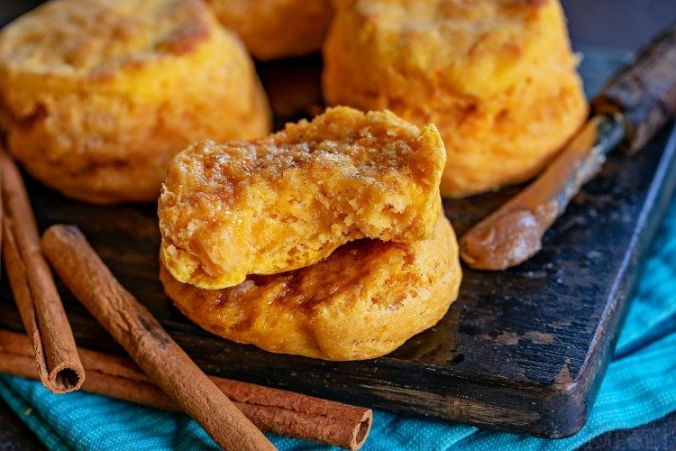 sweet potato biscuits split with brown sugar butter