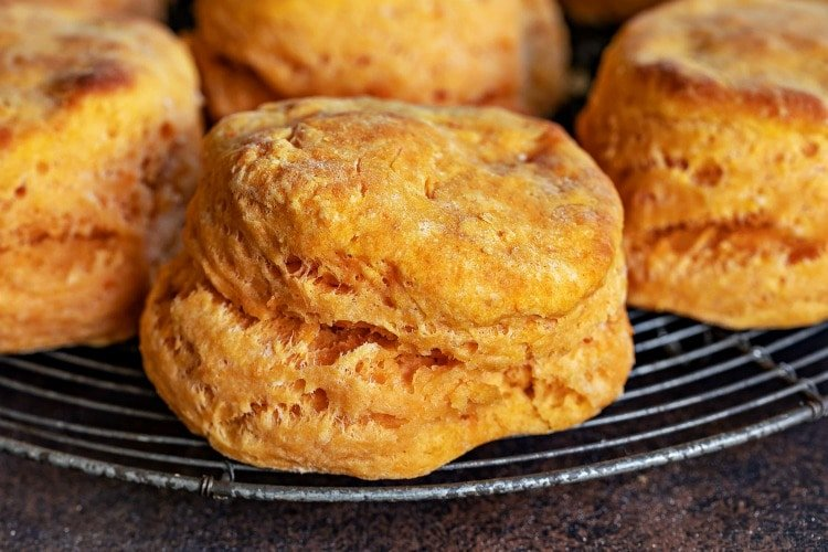 sweet potato biscuits whole on rack