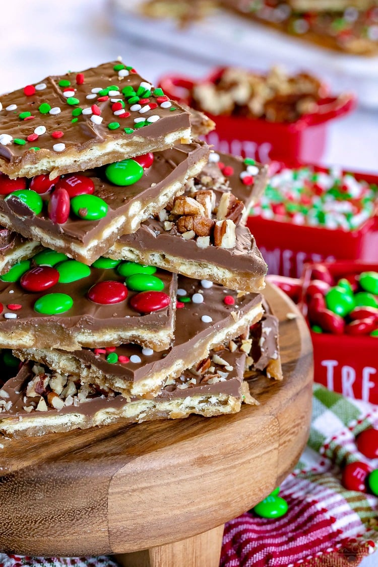 saltine toffee christmas crack with nuts mms and sprinkles
