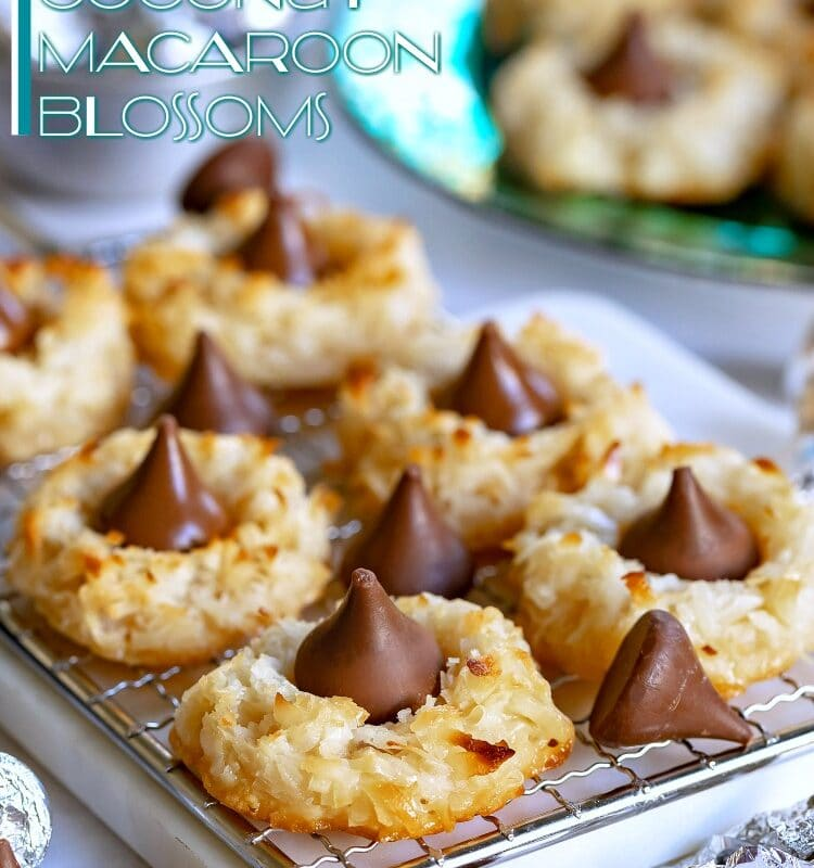 coconut macaroon blossoms recipe with hershey kisses title 750