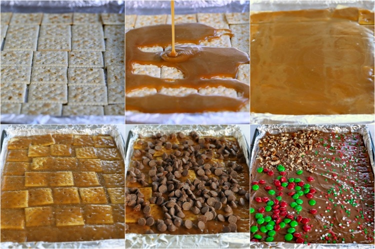 saltine toffee process shots collage