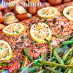 baked salmon recipe on sheet pan with title hi res