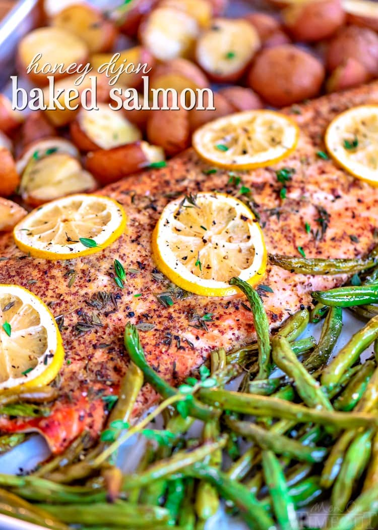 baked salmon recipe on sheet pan with title green beans and potatoes