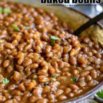 crockpot baked beans in metal serving dish title