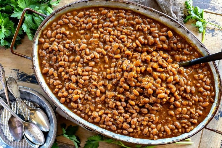 easy baked beans in a large serving dish