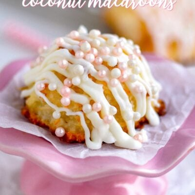 coconut macaroons for valentines day with white chocolate and pink pearls title