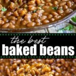 easy crockpot baked beans recipe collage
