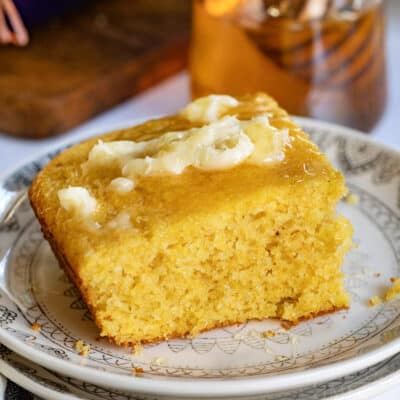 cornbread recipe with honey butter on it
