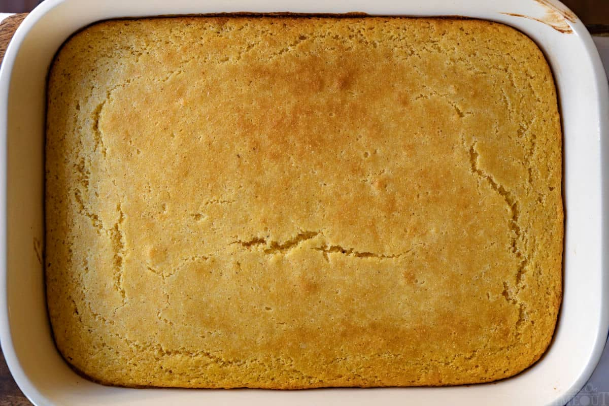 easy cornbread recipe in baking dish baked