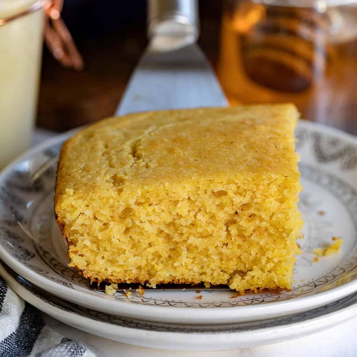 piece of cornbread on plate