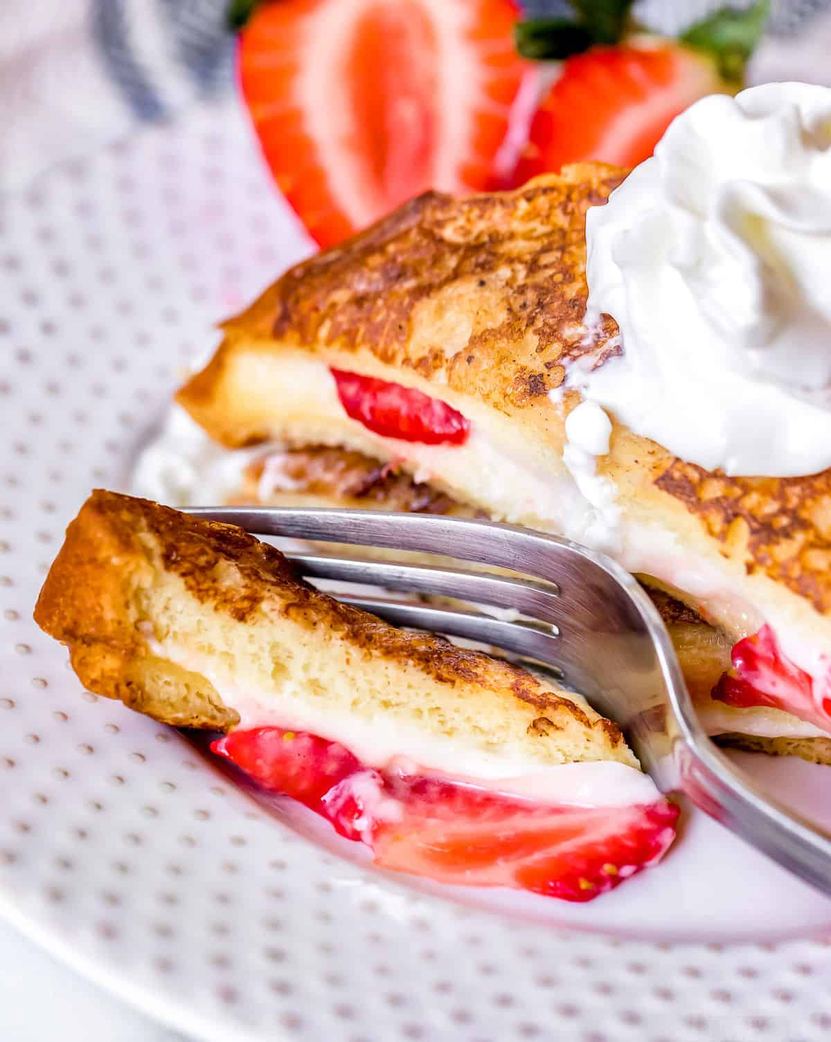 bite of stuffed french toast recipe