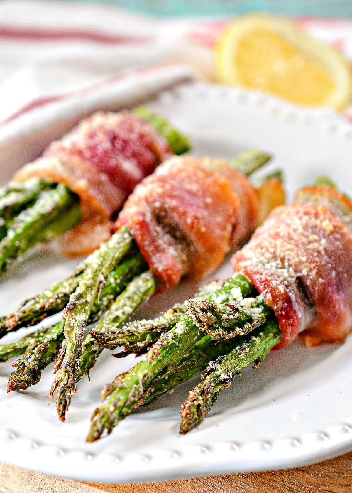 bacon wrapped asparagus made in oven or air fryer