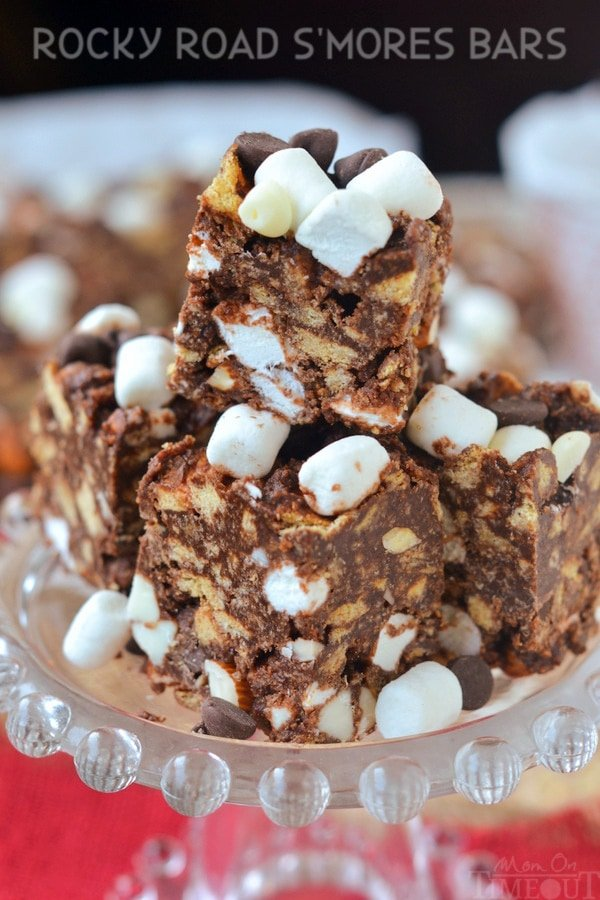 easy rocky road s'mores bars with marshmallows on top