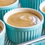 homemade butterscotch pudding recipe in teal ramekin square