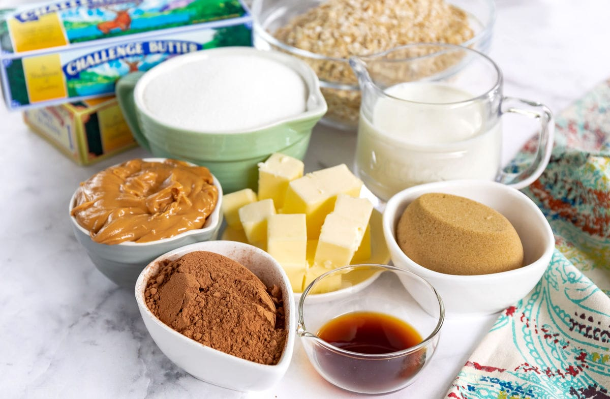no bake cookie recipe ingredients pre measured in small containers