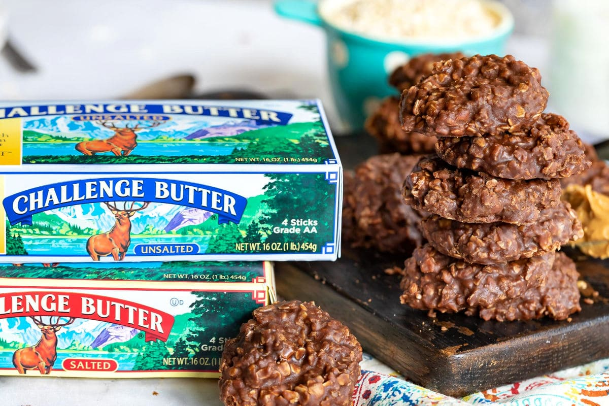 peanut butter no bake cookies with Challenge butter