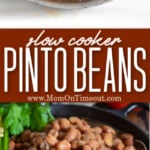 slow cooker pinto beans photo collage with beans on a spoon and beans in a bowl