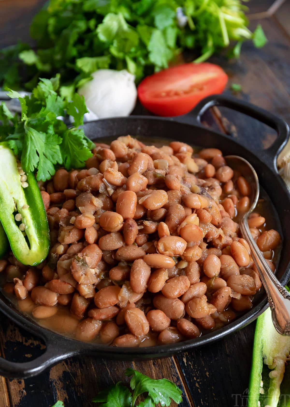 slow cooker pinto beans in black bowl with spoon and garnished with jalapeno tomato and cilantro