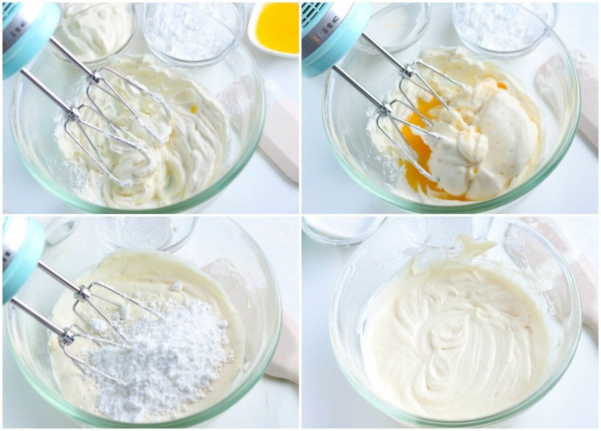 cream cheese frosting 4 image collage