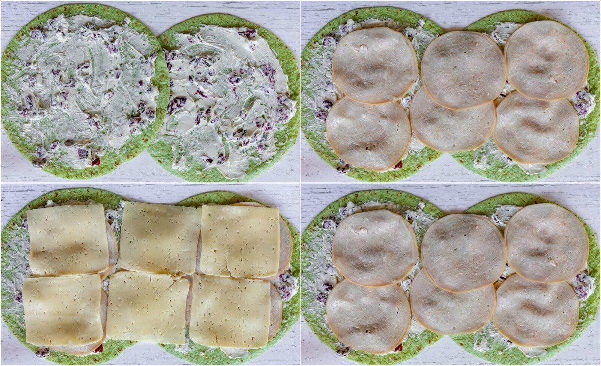 how to make turkey pinwheels collage with four images